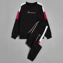 Pullover mit seitlicher Naht und Buchstaben Grafik und Jogginghose Set