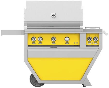 GABR36CX2-NG-YW 36 Deluxe Freestanding Natural Gas Grill with up to 119 000 BTUs  Double Side Burner  Ceramic Infrared Top Burner and Trellis