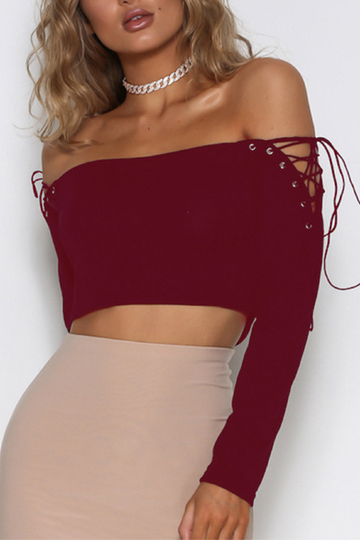 Yoins Burgundy Lace-up Design Off The Shoulder Long Sleeves Top