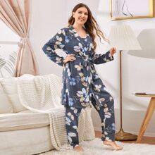Conjunto de pijama top de tirantes con estampado de mariposa con tunica