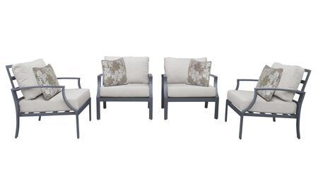 Lexington LEXINGTON-04g 4-Piece Aluminum Patio Set 04g with 4 Club Chairs - 1 Ash