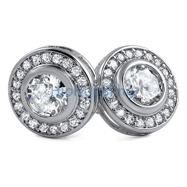 Rhodium Solitaire Circle CZ Bling Earrings