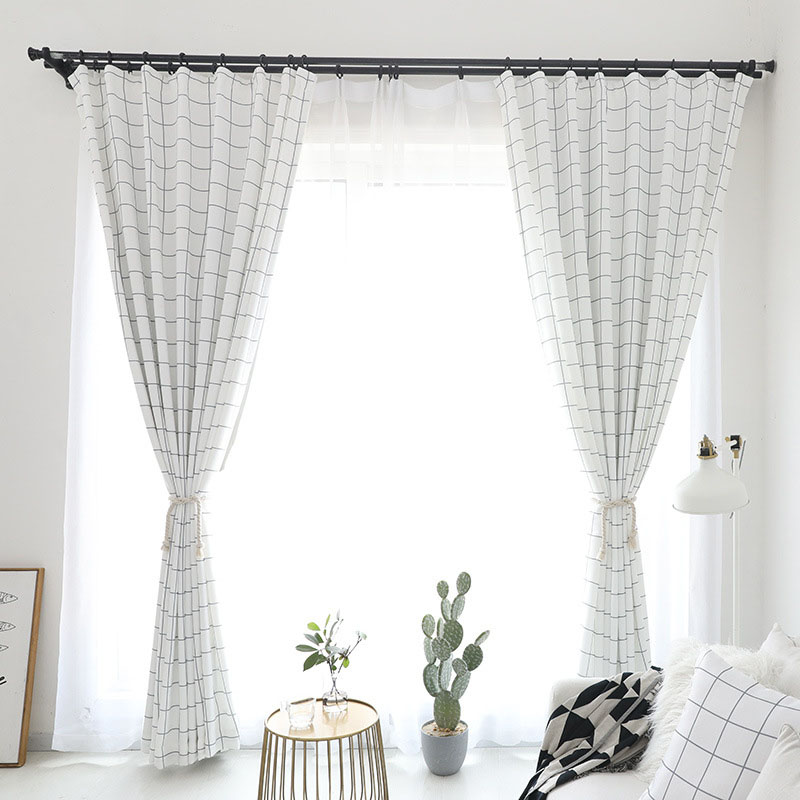 Modern Window Farmhouse Curtains Ins Lattice Drapes Hooks Smooth and Soft Polyester Free Curtains Hooks