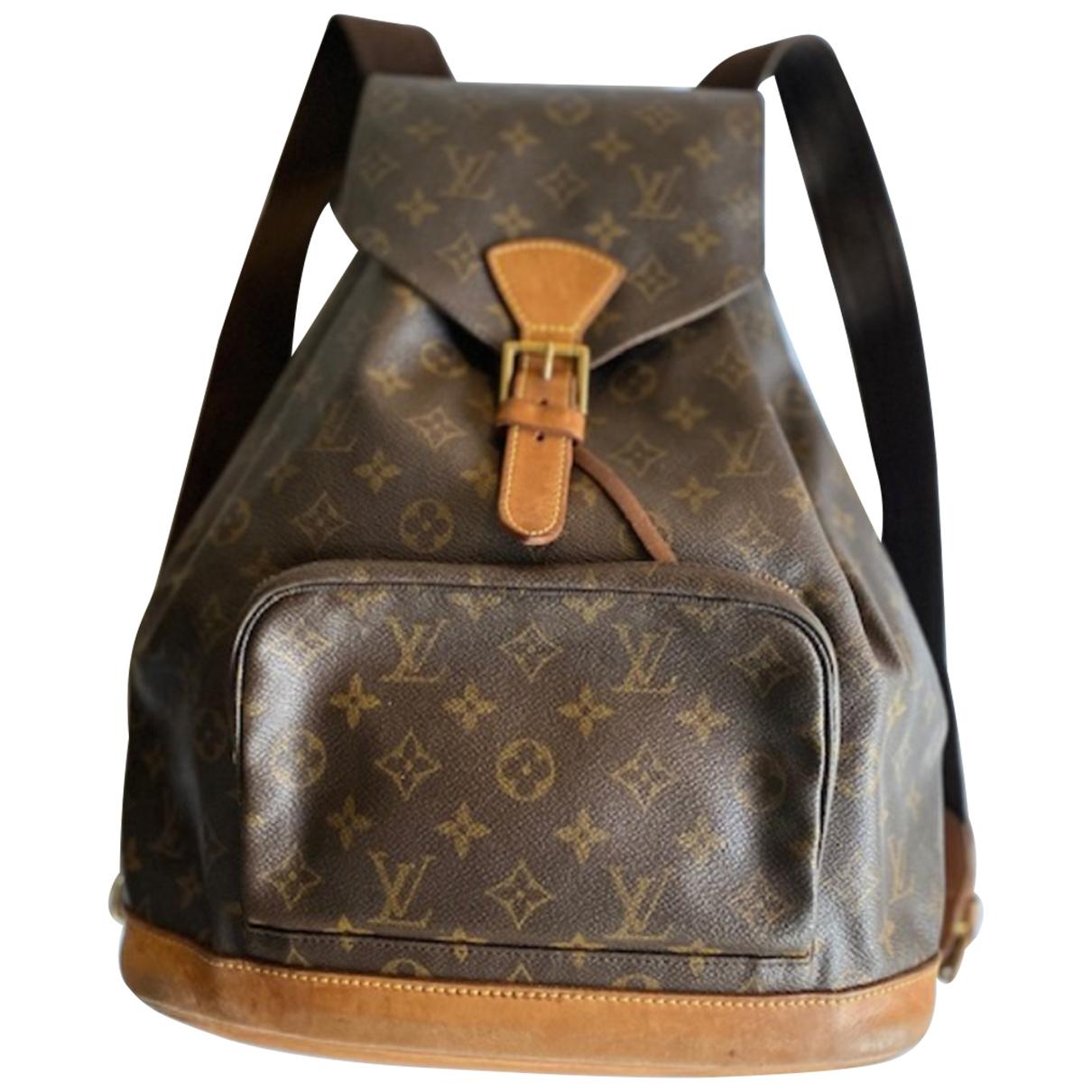 Louis Vuitton - Sac a dos Montsouris pour femme en toile - marron