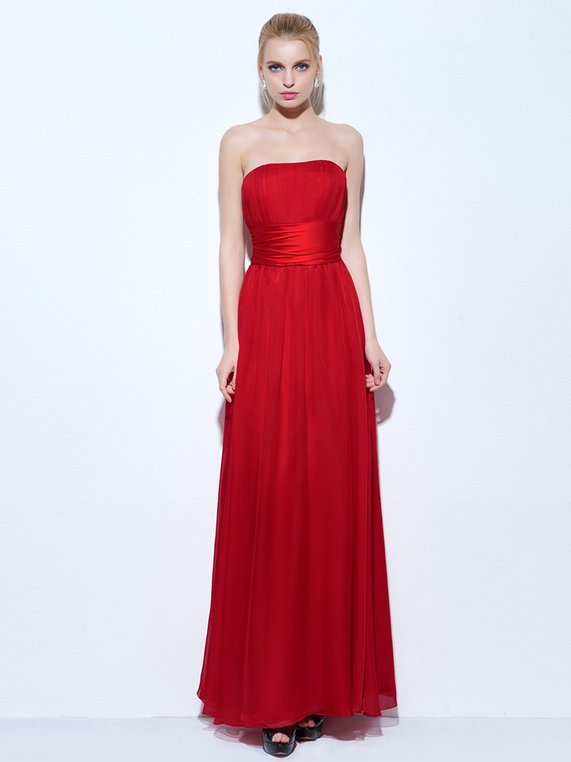 Ericdress A-Line Strapless Pleats Floor-Length Evening Dress