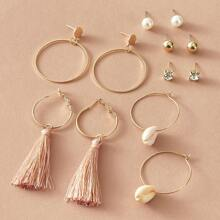 6pairs Pearl & Rhinestone Decor Earrings