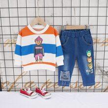 Outfits dos piezas para niño pequeño Dibujos animados Multicolor Casual
