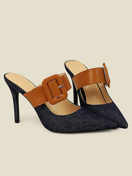 Milanoo High Heel Mules Women Pointed Toe Buckle Detail Backless Mule Heels Shoes