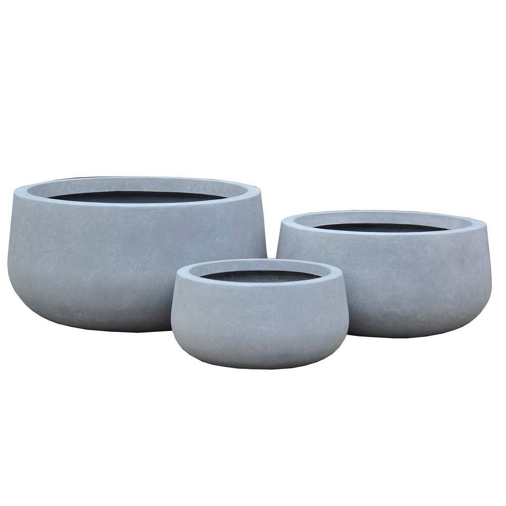 Durx-litecrete Lightweight Concrete Modern Low Bowl Cement Planter-Set of 3 - 19.7'x19.7'x9.8' (19.7'x19.7'x9.8' - cement)