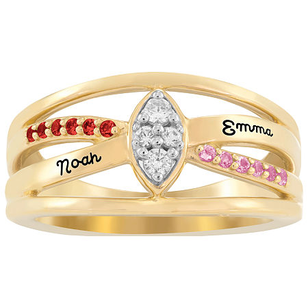 Artcarved Personalized Womens Multi Color Stone 10K Gold Over Silver Cocktail Ring, 5 , No Color Family