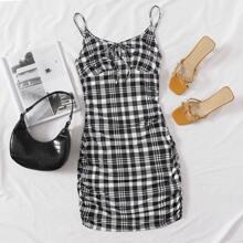 Tie Front Plaid Print Dress