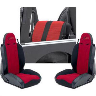 Smittybilt XRC Seat Package, Black/ Red - XRCSEAT7R