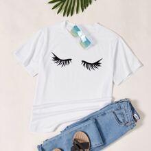 T-Shirt mit Wimpern Grafik und kurzen Ärmeln