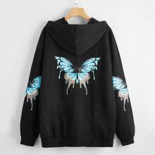 Butterfly Print Drawstring Hoodie