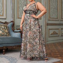 Plus Plunging Neck Floral Lace Overlay Dress