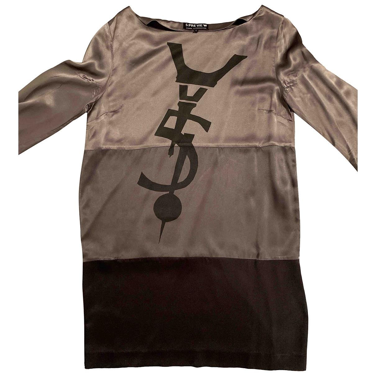 5 Preview - Robe   pour femme en soie - gris