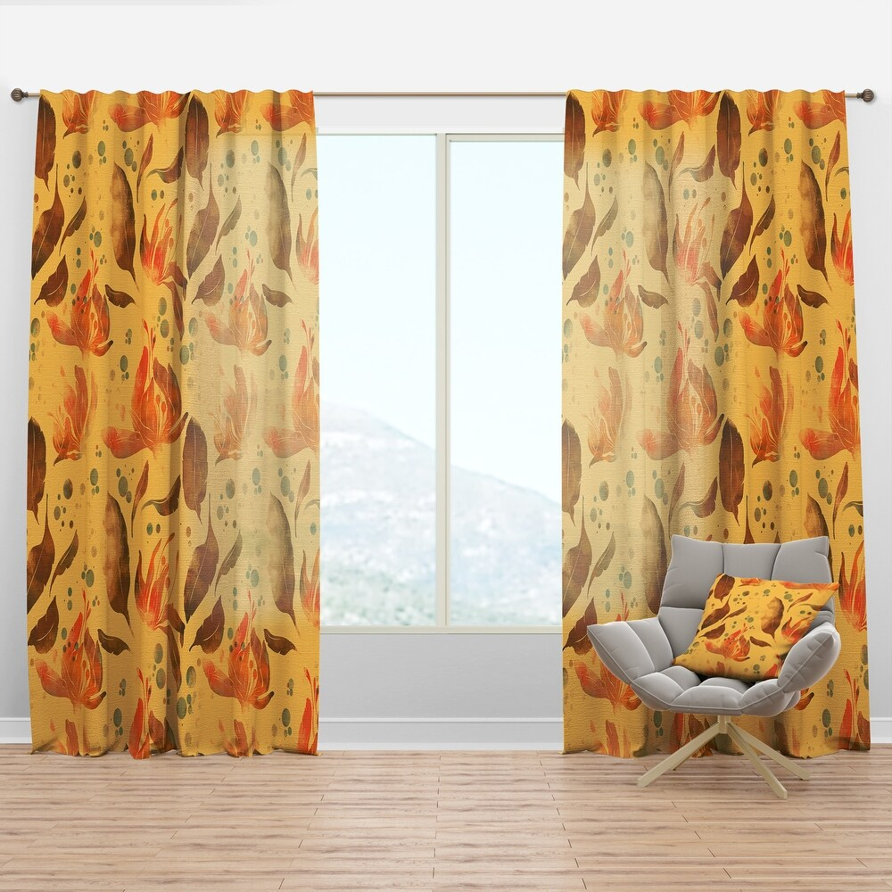 Designart 'Flowers and Leaves Tea' Bohemian & Eclectic Curtain Panel (50 in. wide x 90 in. high - 1 Panel)