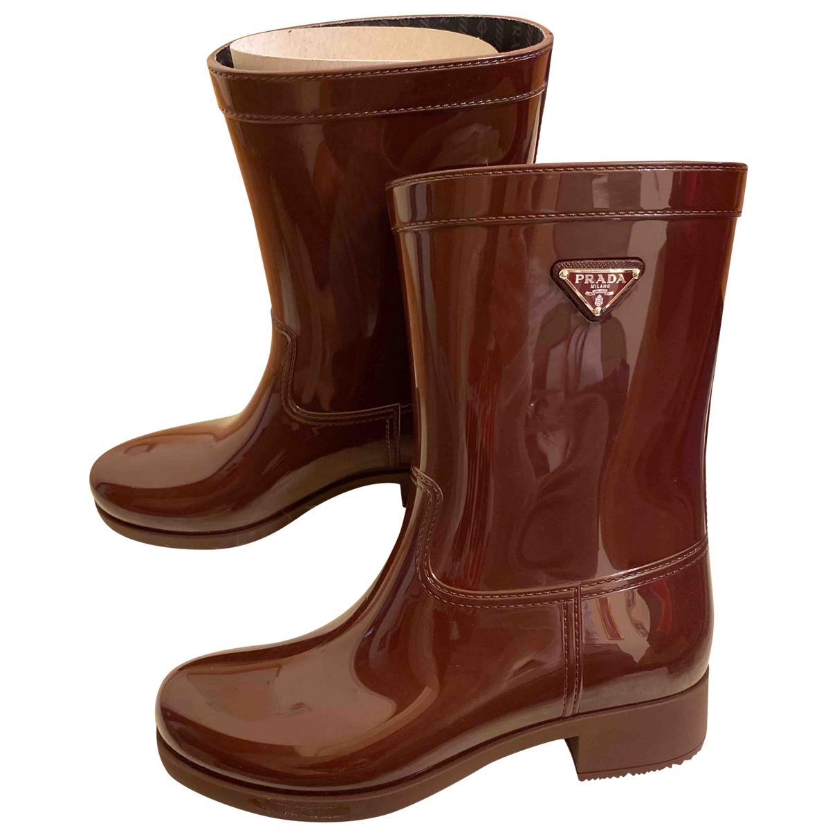 Prada \N Burgundy Rubber Boots for Women 40 EU