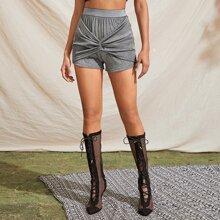 Glitter Twist Front Elastic Waist Shorts