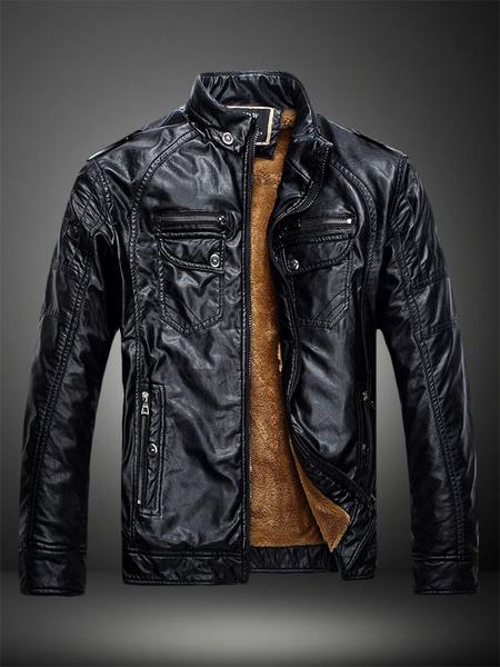 Milanoo Men Leather Jacket Winter Jacket Blue Stand Collar Long Sleeve Short Jacket