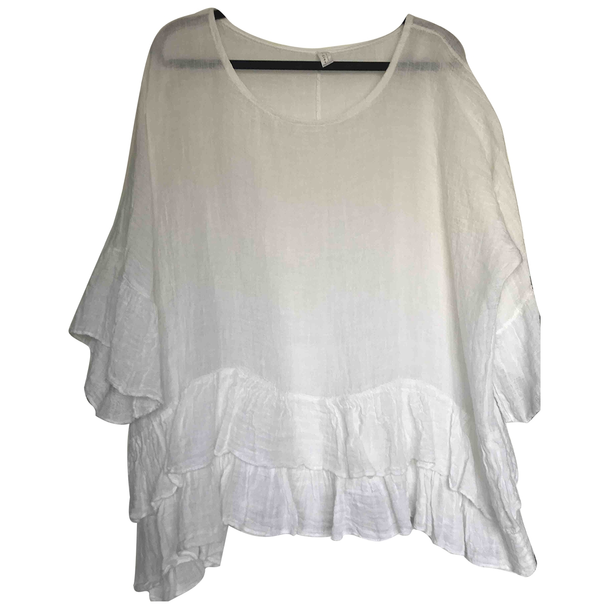 Non Signé / Unsigned \N White Linen  top for Women One Size International
