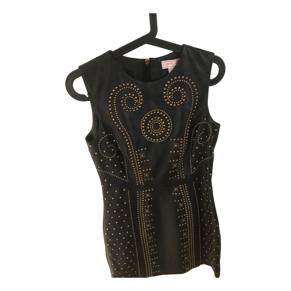 Versace - Robe   pour femme en cuir - noir