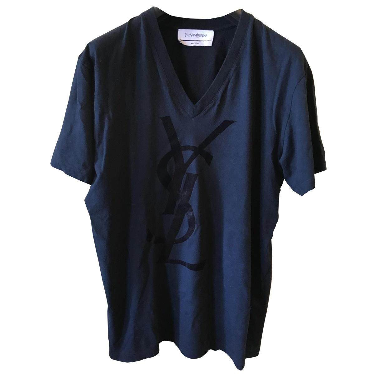 Saint Laurent \N Navy Cotton T-shirts for Men XL International