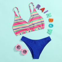 Girls Colorful Striped Bikini Swimsuit