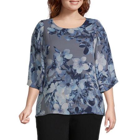 Worthington Womens 3/4 Sleeve Flutter Blouse - Plus, 3x , Gray