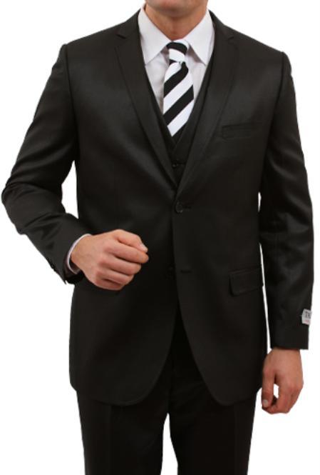2 Button Solid Black Front Closure Slim Fit Suit Mens Cheap