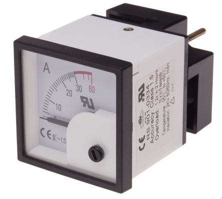 RS PRO Analogue Panel Ammeter 30A AC, 46mm x 46mm, ±1.5 % Moving Iron