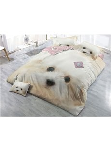 White Innocent Dog Wear-resistant Breathable High Quality 60s Cotton 4-Piece 3D Bedding Sets