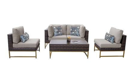 Barcelona BARCELONA-05d-GLD-BEIGE 5-Piece Patio Set 05d with 2 Corner Chairs  2 Armless Chairs and 1 Coffee Table - 2 Beige Covers with Gold