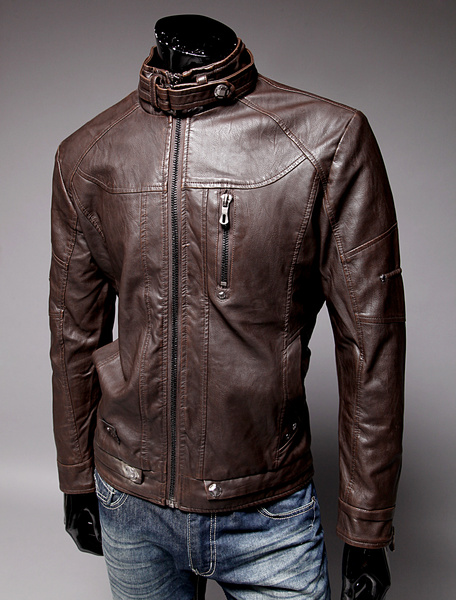 Milanoo Men Leather Jacket Stand Collar Metal Buckle Zipper 2020 Spring Moto Jacket