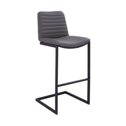 LCLUBABLGR30 Lucas Contemporary 30 Bar Height Barstool in Black Powder Coated Finish and Grey Faux