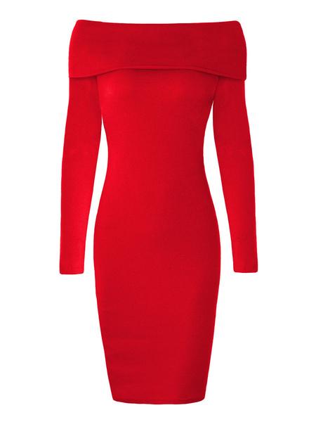 Milanoo Vestidos ajustados Vestido sexy con hombros descubiertos rojo