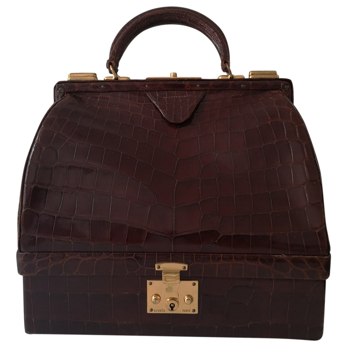Hermès Malette Brown Crocodile handbag for Women \N