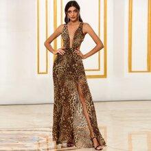 DKRX Kleid mit tiefem Kragen, Ausschnitt hinten und Leopard Muster