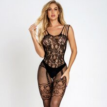 Contrast Lace Fishnet Bodystocking