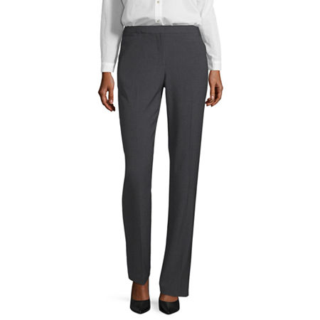 Liz Claiborne Classic Fit Audra Straight Leg Trousers, 10 Short , Gray