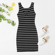 Notched Neck Rib-knit Striped Nightdress
