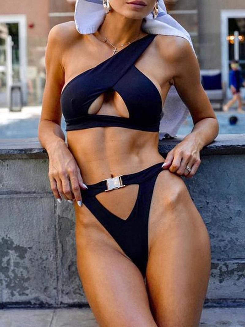 Ericdress Asymmetric Plain Hollow Sexy Swimsuit