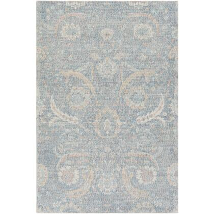 Oregon ORG-2301 8' x 10' Rectangle Traditional Rug in Sky Blue  Navy  Peach  Bright Yellow