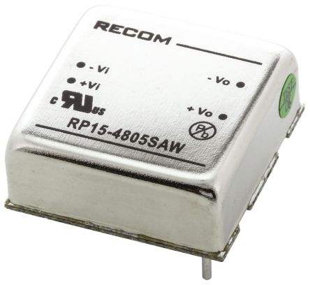 Recom RP15 AW 15W Isolated DC-DC Converter Through Hole, Voltage in 18 → 75 V dc, Voltage out 5V dc