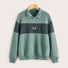 Butterfly Embroidery Half Zip Sweatshirt