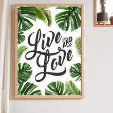 1pc Leaf & Letter Graphic Wall Print Without Frame
