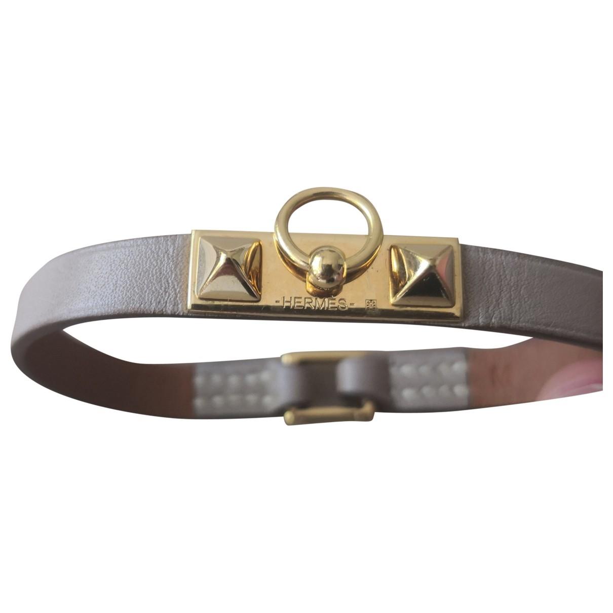 Hermes - Bracelet Rivale pour femme en cuir - beige