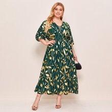 Kleid mit Blatt Muster und Rueschen