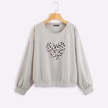 Plus Leopard & Heart Print Sweatshirt