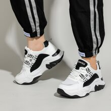 Lace-up Front Letter Graphic Chunky Sneakers